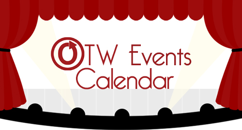 Banner by caitie of curtains opening to show a stage with the words OTW Events Calendar