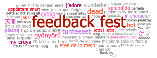 Banner: Feedback Fest speech bubble with multilanguage feedback phrases