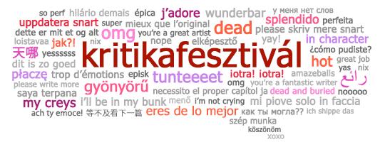 A Nemzetközi Rajongói Munkák napjának bannere, melyen sokféle nyelvre lefordított kifejezések találhatók, amiket akkor szoktak használni, mikor valaki pozitív visszajelzést hagy egy rajongói munkán.