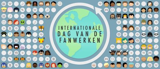 Internationale Dag van de Fanwerken viering, met fandom-thema emoticons en representaties van fanwerken over de hele wereld