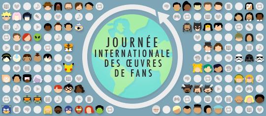 Célébration de la Journée Internationale des Œuvres de Fans, comprenant des émoticons sur le thème du fandom et des représentations des œuvres de fans à travers le monde