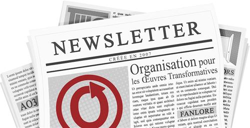 Bannière dessinée par caitie, et représentant un journal. Les noms et logos de l'OTW et de ses projets sont visibles sur les pages.