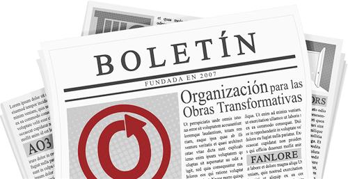 Banner hecho por caitie de un periódico con el nombre y logos de la OTW y sus proyectos en las páginas.