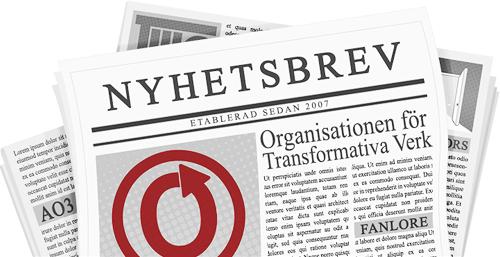 Banderoll med en dagstidning med namnen och loggorna av OTW och dess projekt på sidorna. Gjord av caitie.