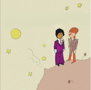 Image of Prince and David Bowie in the style and location of The Little Prince