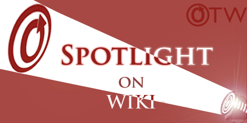 """Banner by Erin of a spotlight on an OTW logo with the words """"Spotlight on Wiki"""""""