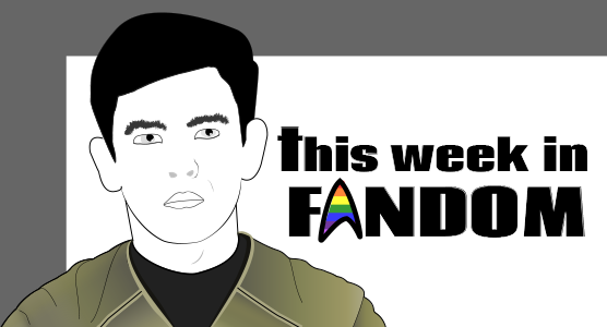Title banner by doughtier with line drawing of new Sulu and the Star Trek logo filled in with rainbow