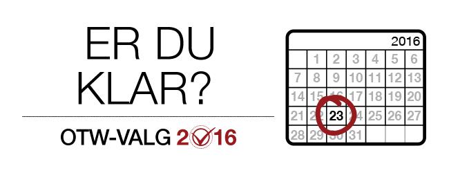 OTW-valg 2016: Er du klar? En månedlig kalender for 2016 med den 23. dag markeret.