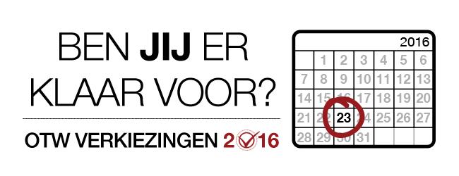 OTW Verkiezingen 2016: Ben jij er klaar voor? Maandelijkse kalender voor 2016 met de 23ste dag aangeduid.