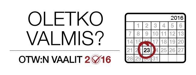 OTW:n vaalit 2016: oletko valmis? Kuukauden vuoden 2016 kalenteri, jossa 23. päivä on merkitty.