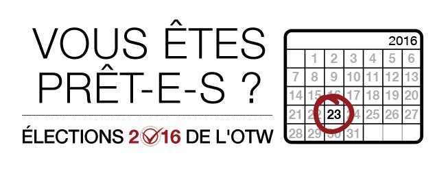 Élections 2016 de l'OTW : vous êtes prêt-e-s ? Page de calendrier d'un mois en 2016 et dont le 23ème jour est entouré.