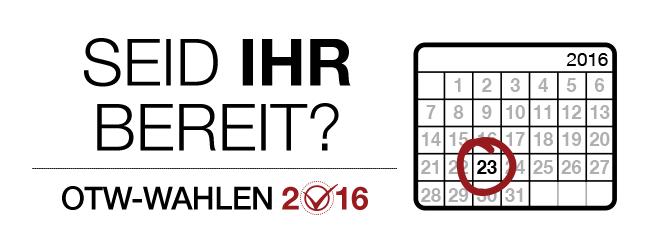 OTW-Wahlen 2016: Seid Ihr Bereit? Kalenderblatt für 2016 mit einer Markierung am 23. des Monats