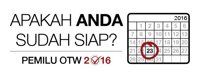 Pemilu OTW 2016: apakah Anda sudah siap? Kalender bulanan untuk 2016 dengan tanda di hari ke-23.