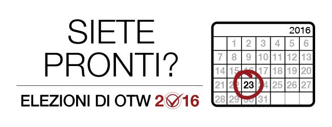 Elezioni OTW 2016: siete pronti? Calendario mensile del 2016 con il giorno 23 evidenziato.