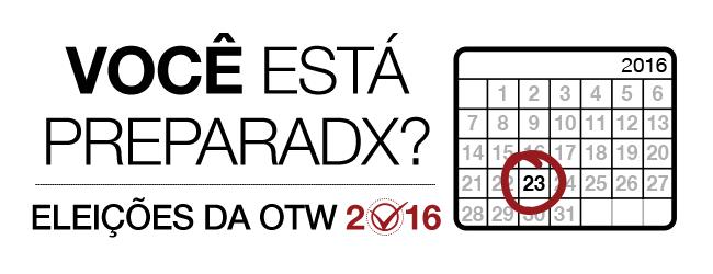 Eleições da OTW 2016: Você está preparadx? Calendário mensal de 2016 com o dia 23 marcado.