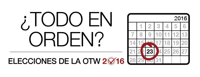 Elecciones de la OTW2016: ¿Todo en orden? Calendario mensual 2016 con una marca en el día 23.