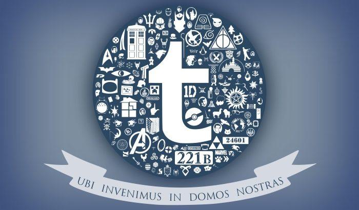 Ubi Invenimus in Domos Nostras banner below tumbler logo and numerous fandom logos