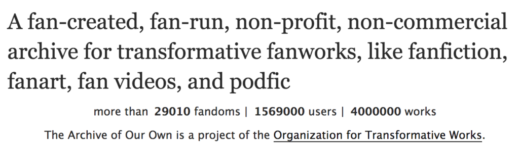 Partial screenshot of the AO3 homepage showing that the Archive has 4 million works.