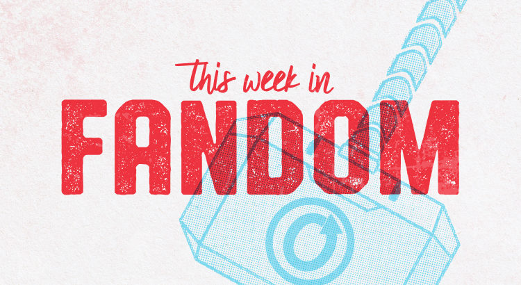 'This Week in Fandom' text over a background of Thor's hammer carrying an OTW logo