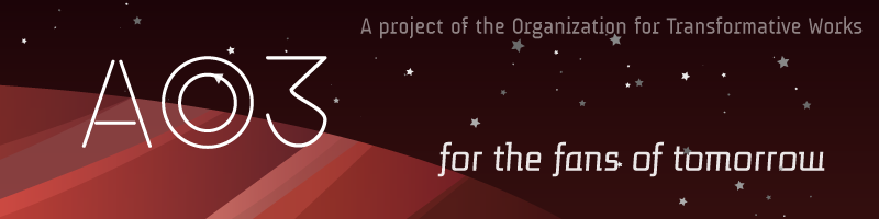 Image of a red striped planet and stars.  AO3, for the fans of tomorrow. A project of the Organization for Transformative Works.
