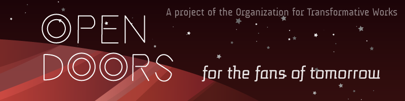 Image of a red striped planet and stars.  Open Doors, for the fans of tomorrow. A project of the Organization for Transformative Works.
