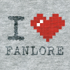 ASCII style image of a red heart on a grey t-shirt background, reading: I heart Fanlore.