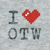 ASCII style image of a red heart on a grey t-shirt background, reading: I heart OTW.