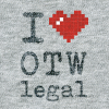 ASCII style image of a red heart on a grey t-shirt background, reading: I heart OTW Legal.