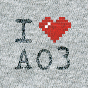 ASCII style image of a red heart on a grey t-shirt background, reading: I heart AO3.