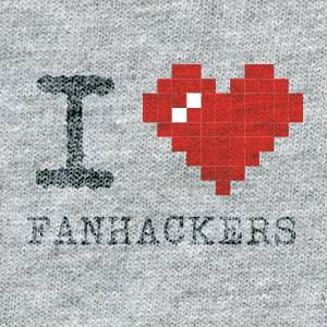 ASCII style image of a red heart on a grey t-shirt background, reading: I heart Fanhackers