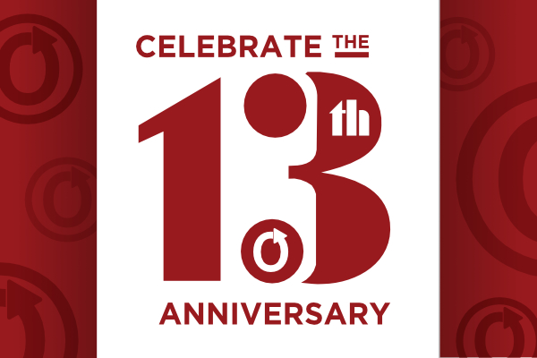 Text reading 'Celebrate the 13th Anniversary'. The OTW logo sits inside the large number 3.