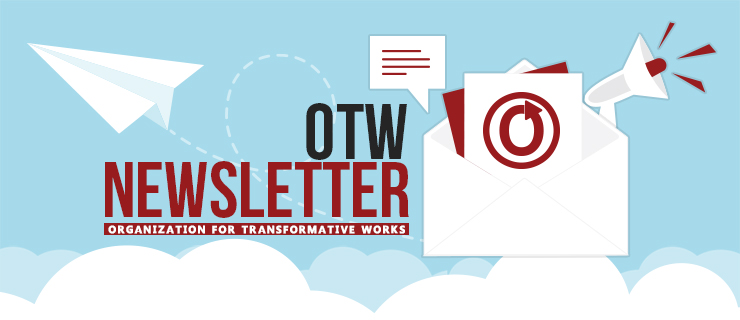 Banner of a paper airplane emerging from an envelope with the words 'OTW Newsletter: Organization for Transformative Works'
