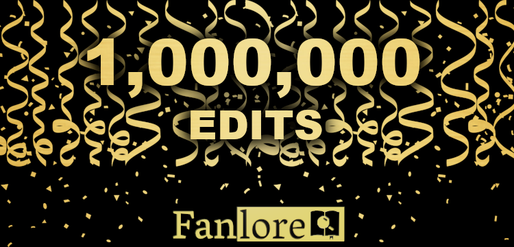 Gold and black banner with streamers and text reading '1 Million Edits' with the Fanlore logo below