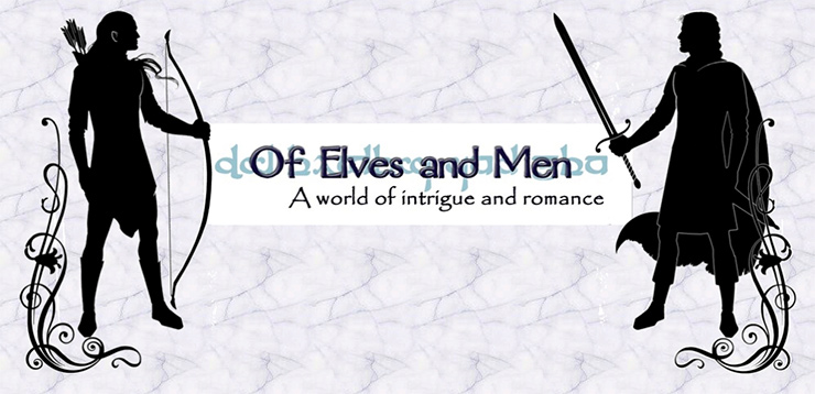 Header image for Of Elves and Men Fanfiction archive. On the left is a silhouette of an elf with a bow and on the right is a silhouette of a human man with a sword. They are facing each other. Text in the center reads: Of Elves and Men: A world of intrigue and romance.