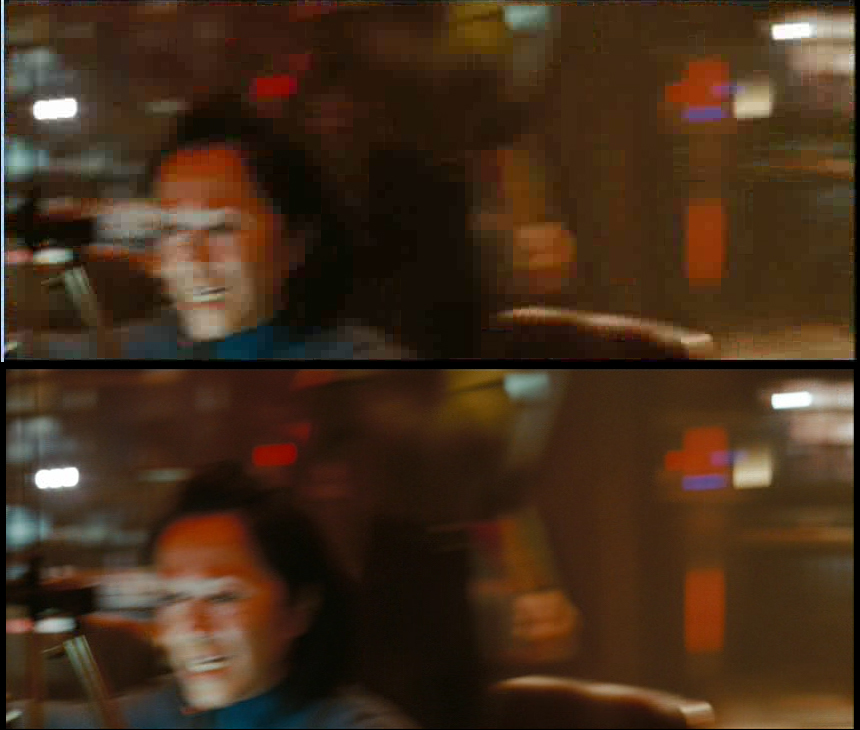 Image H: The Kelvin's helmsman reacts (first shot); top image captured, lower image ripped.