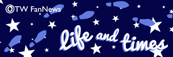 Banner by Tea of footsteps and stars leading across a blue background with the words 'OTW Fannews Life and Times'