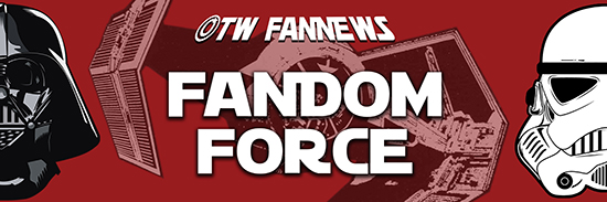 OTW Fannews banner by ElenaWho featuring a spaceship from Star Wars, a stormtrooper mask, and Darth Vader's mask