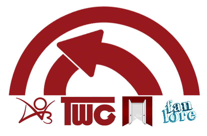 Graphic by Aga of the OTW logo and the logos for AO3, TWC, Open Doors and Fanlore