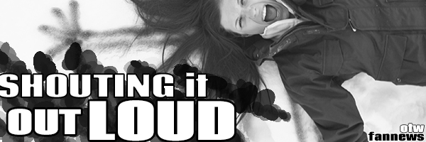 Banner by doughtier of a young woman in black and white shouting yelling with arms spread with the title 'Shouting it Out Loud'