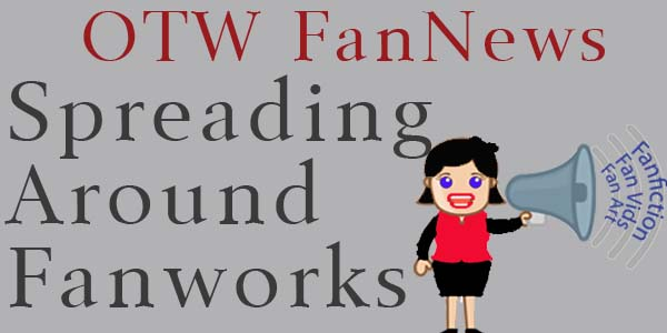 banner by Robyn of a cartoon woman announcing types of fanworks with a megaphone