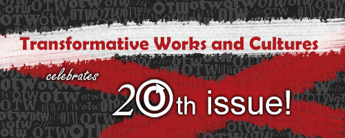 Banner by Elena reading 'Transformative Works and Cultures celebrates 20th issue'