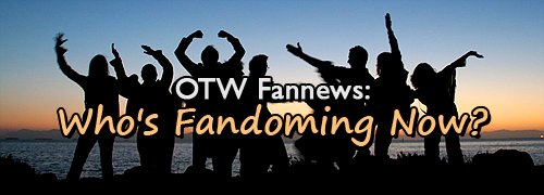 Several people are silhouetted against a sky fading after sunset, posing as though dancing.  Text in front of them reads 'OTW Fannews: Who's Fandoming Now?'
