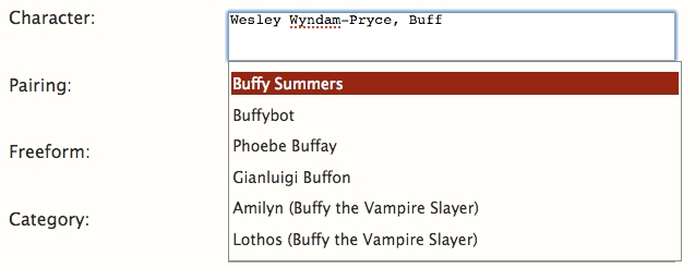 Close up of Character text field. Buff is typed with auto-filled fields showing below listing, Buffy Summers, Buffybot, Pheobe Buffay ...
