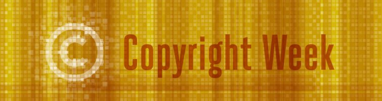 Copyright logo set on a yellow pixelated background