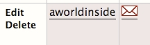 Close up of a particpants name called aworldinside with Edit and Delete links to the left and red envelope icon to the right.