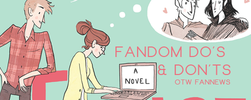 Banner by Bremo of the cover of Rainbow Rowell's novel 'Fangirl' with the Fannews post title