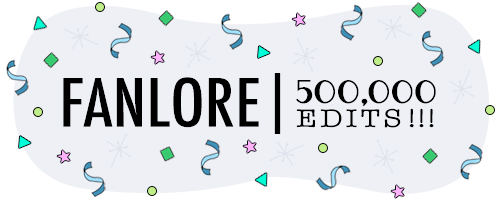 Banner by caitie celebrating Fanlore's 500,000th edit