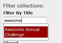 Filter By Title field - the word awesome has been typed in and the autocomplete is suggesting Awesome Annual Challenge