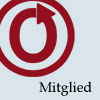 OTW German membership icon. Logo in red and the word Mitglied