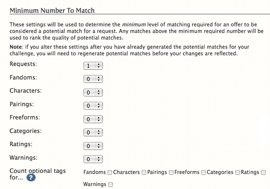 Image:List of drop down menus with numbers for minuimum number of matches to make. List includes Requests, Fandoms, Characters, Relationships, Freeforms, Categories, Ratings, Warnings.